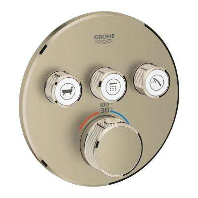 Grohtherm Smart Control Triple Function Round Thermostatic Trim with Control Module in Brushed Nickel