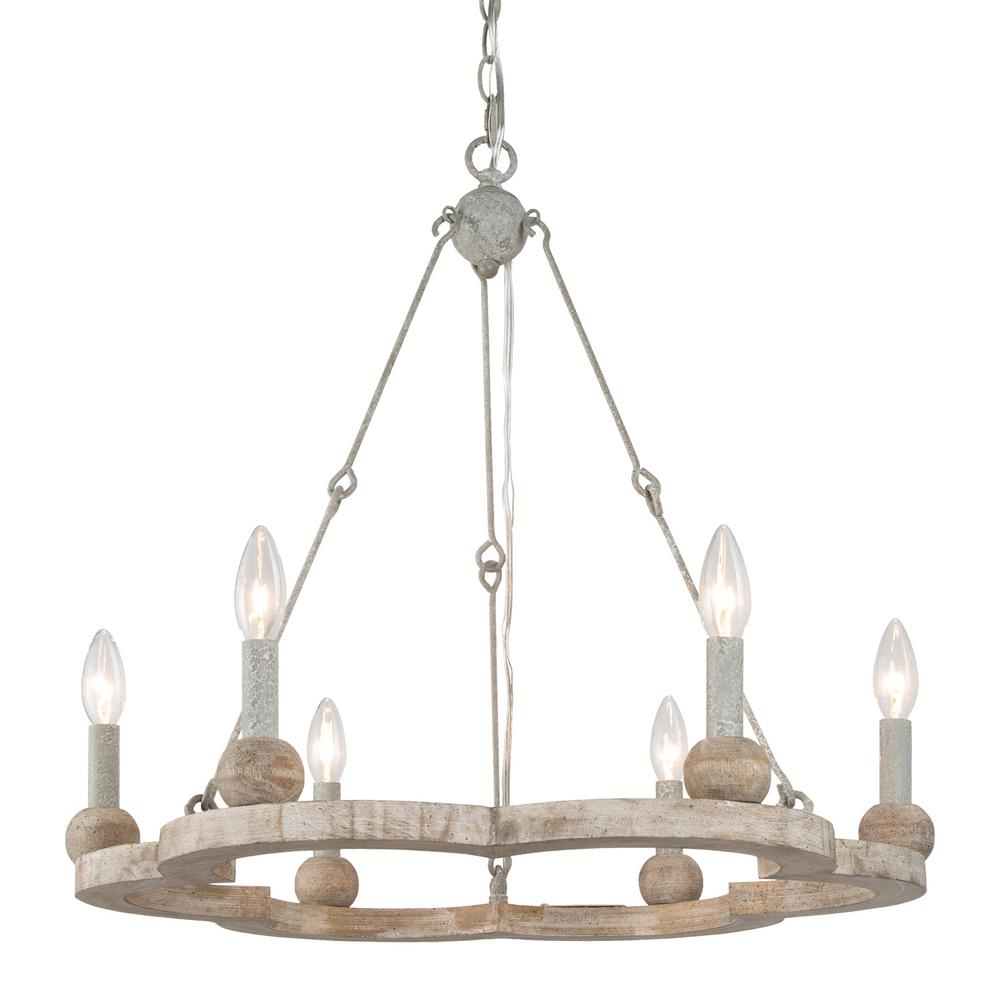 Sezeven Alyssa 6 Light Antique White Farmhouse Rustic Plum Shape Wagon Wheel Dining Island Chandelier Led Compatible Y2am32hd13710b7 The Home Depot
