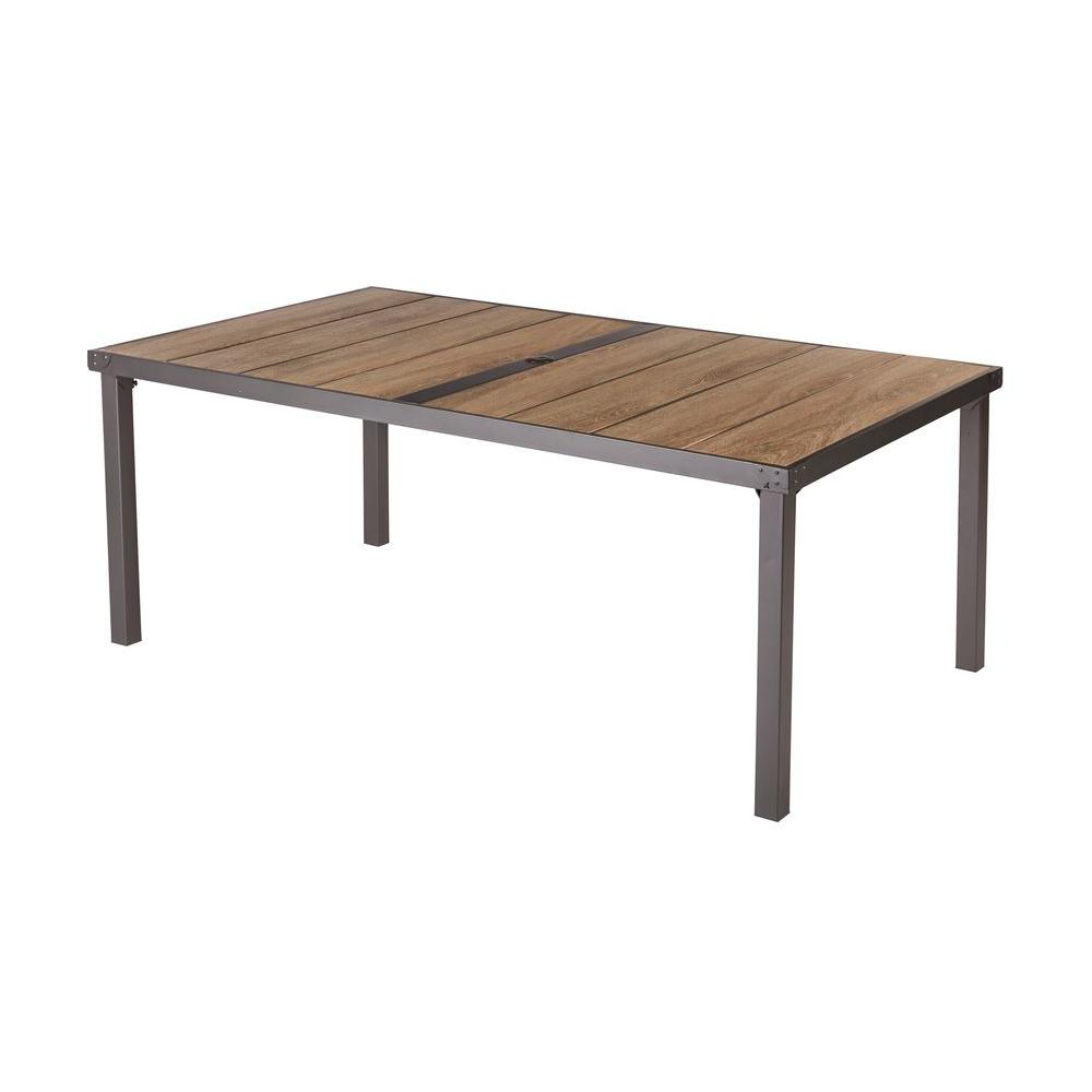 hampton bay vernon hills rectangular patio dining table d11215 tt the home depot. Black Bedroom Furniture Sets. Home Design Ideas