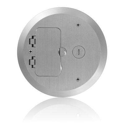 Concrete Floor Box Nickel Plated Cover Plate, 2 Duplex Screw Caps and 1 Data Cap