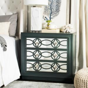 Catalina 3-Drawer Steel Teal/Nickel Chest