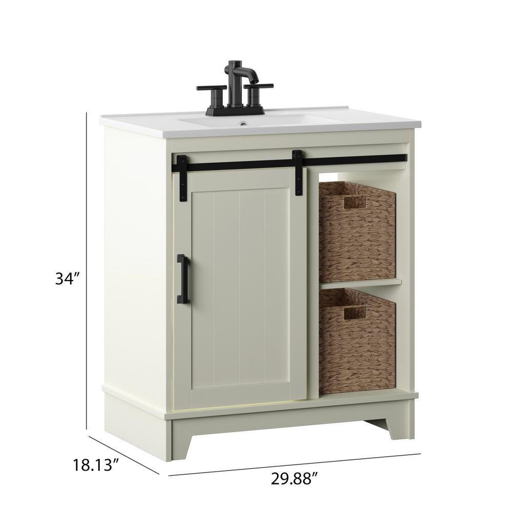 Home & Garden New Antique White Single-sink Bathroom ...