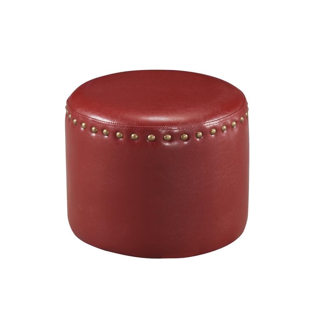 Kings Brand Furniture Red Nailhead Trim Faux Leather Round Ottoman