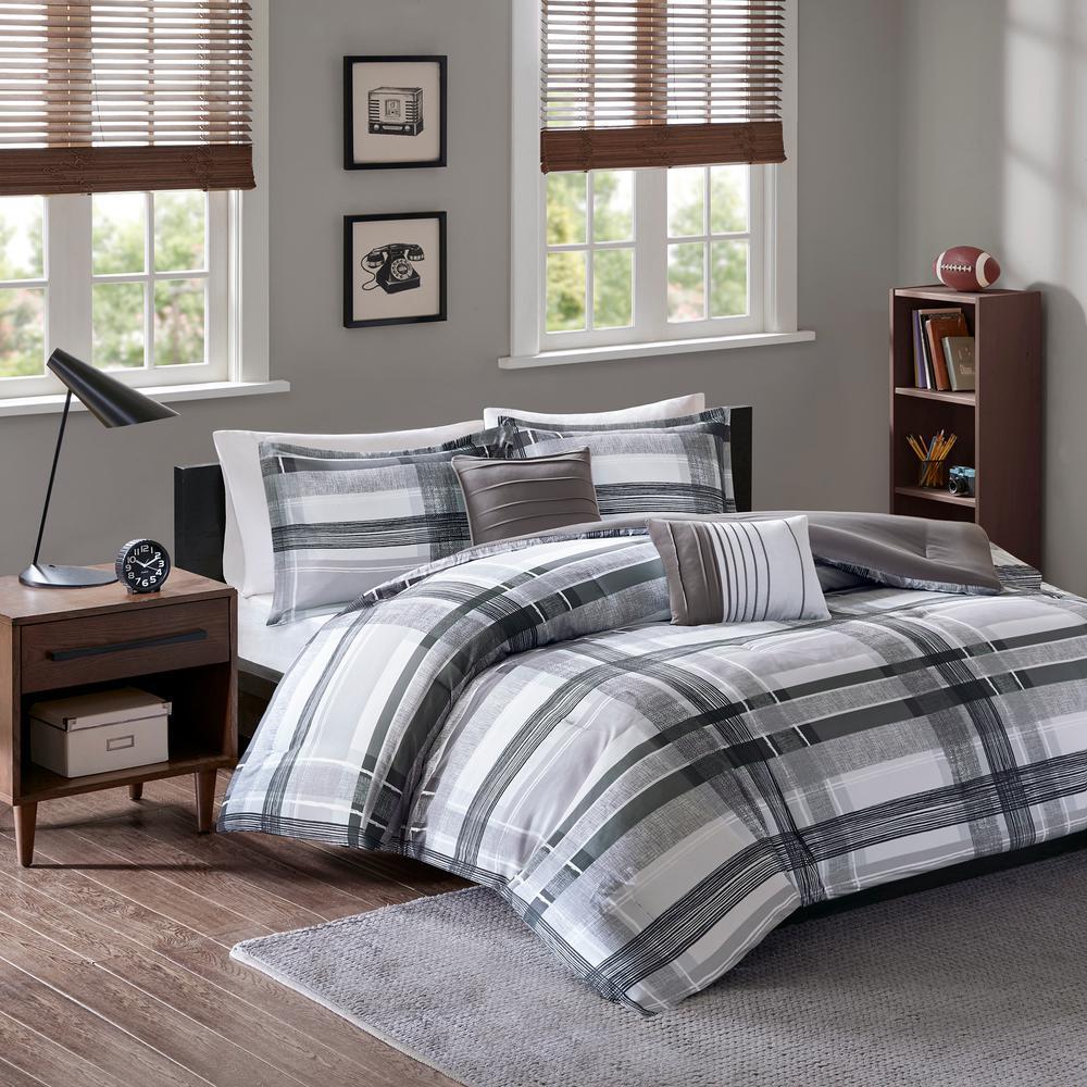Jax 5-Piece Black Full/Queen Plaid Comforter Set