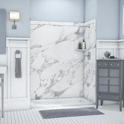 Royale 36 in. x 60 in. x 80 in. 11-Piece Easy Up Adhesive Alcove Bathtub/Shower Wall Surround in Calacatta White