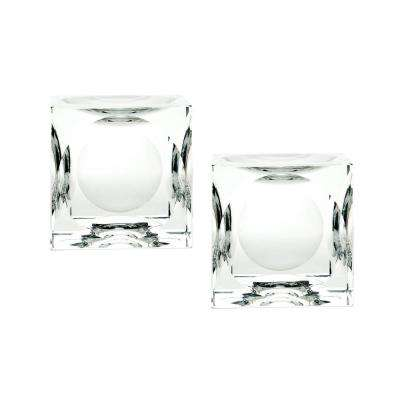 4 in. Dimpled Crystal Cubes Candle Holders (Set of 2)