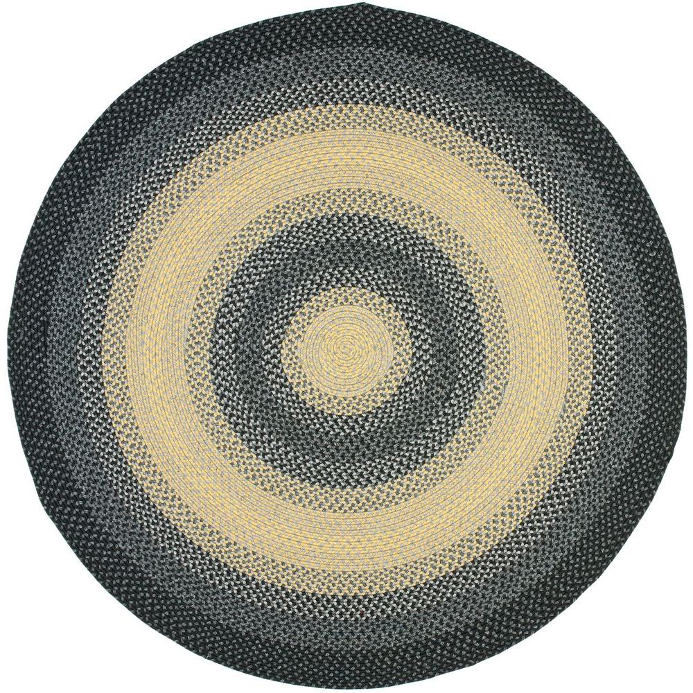 Safavieh Braided Black Grey 6 Ft X Round Area Rug
