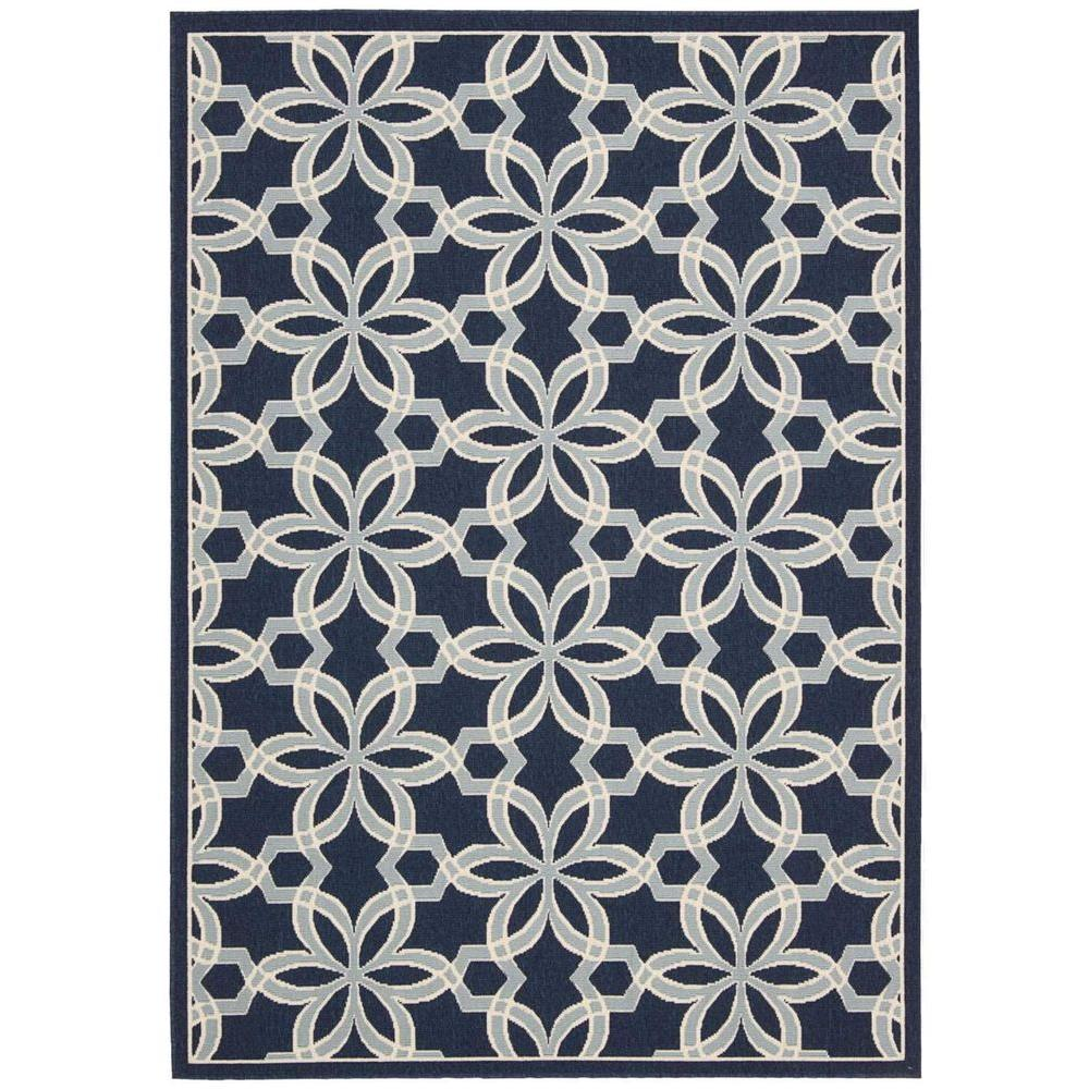 Nourison Caribbean Navy 7 ft. 10 in. x 10 ft. 6 in. Indoor/Outdoor ...