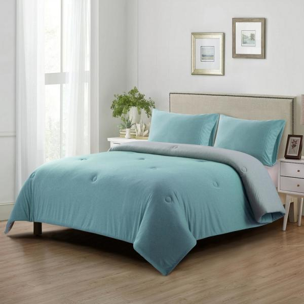 Heathered Aqua/Grey Solid King Jersey Reversible Comforter