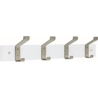 18 in. Pure White and Satin Nickel Classic Bent Hook Rack