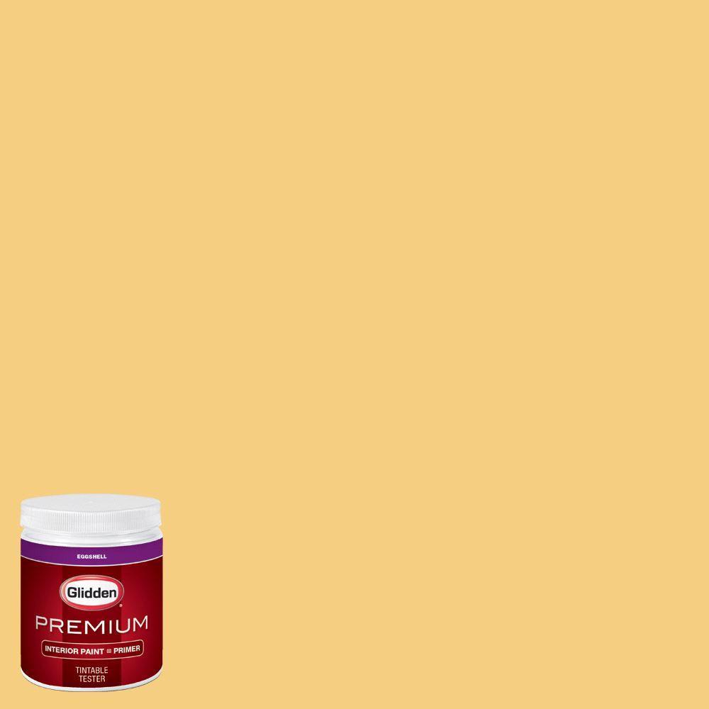 Glidden premium 8 oz hdgy20 mayapple yellow eggshell for Eggshell yellow paint