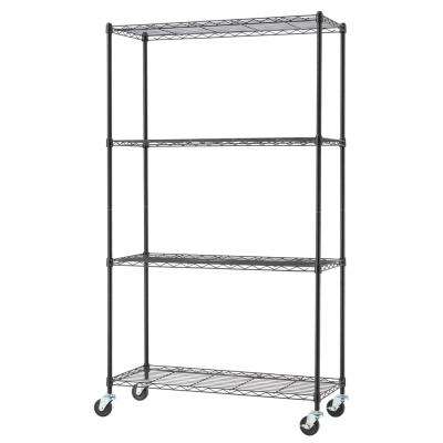 62 in. H x 36 in. W x 14 in. D 4-Tier NSF Wire Shelving Rack in Black