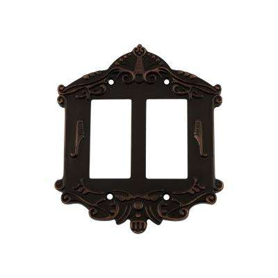 Victorian Switch Plate with Double Rocker in Timeless Bronze