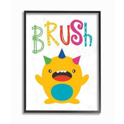 "16 in. x 20 in. ""Brush Monster Cartoon Typography"" by Tara Moss Printed Framed Wall Art"