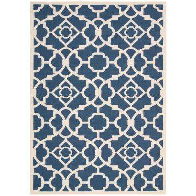 Lovely Lattice Lapis 10 ft. x 13 ft. Indoor/Outdoor Area Rug