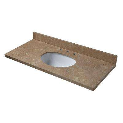 49 in. W Travertine Vanity Top in Noche Rustico with White Bowl and 8 in. Faucet Spread