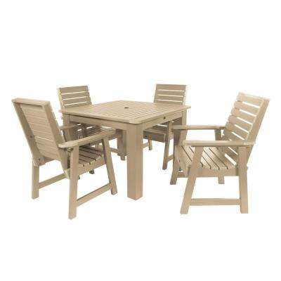 Weatherly Tuscan Taupe 5-Piece Recycled Plastic Square Outdoor Dining Set