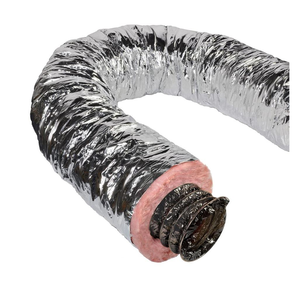 Master Flow 12 in. x 25 ft. Insulated Flexible Duct R6 Silver Jacket