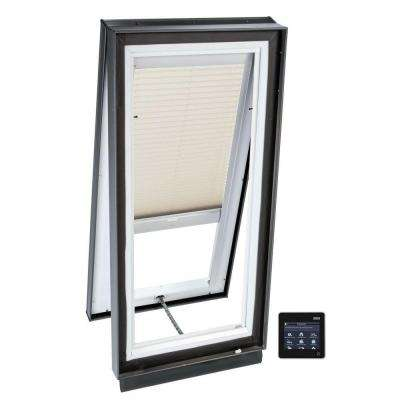 34.5 in. x 34.5 in. Solar Powered Venting Curb-Mount Skylight, Laminated LowE3 Glass, Classic Sand Light Filtering Blind