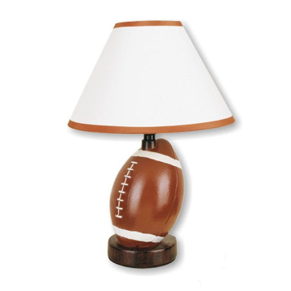 13.5 in. Ceramic Football Brown Table Lamp