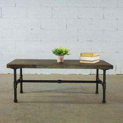 Corvallis Farmhouse Industrial, Black Rectangle Pipe Coffee Cocktail Snack Table-Metal with Reclaimed/Aged Wood