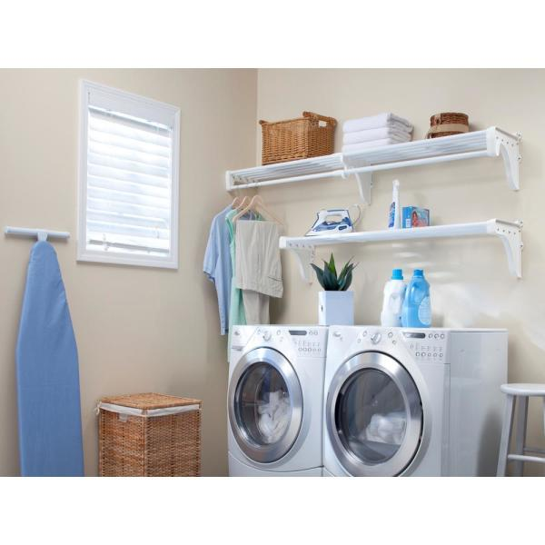 Ez Shelf Expandable Laundry Room Shelves With Closet Rod 40 In W 75 In W White Wire Wall Mounted Shelf Kit With Brackets Ezs K Wlr The Home Depot