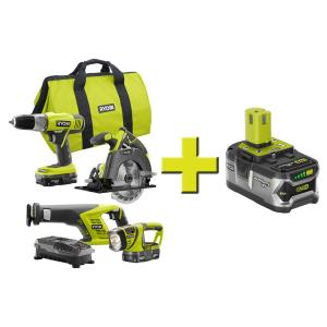 Ryobi 18-Volt ONE+ Lithium-Ion Cordless Super Combo Kit Plus 18-Volt ONE+ 4.0Ah Lithium-Ion High Capacity... by Ryobi