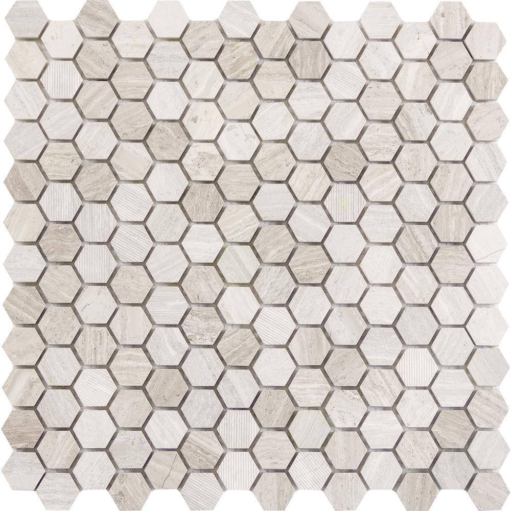 Beigecream Honeycomb Tile Flooring The Home Depot