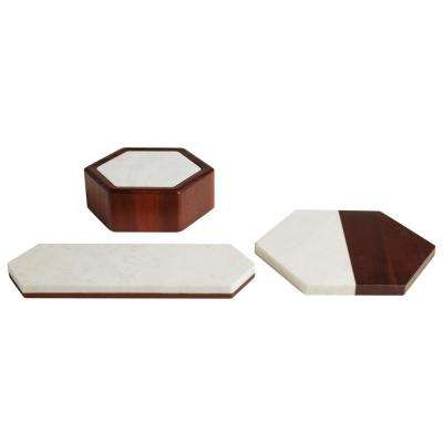 Urban Story 3-Piece Marble Tray and Bowl Starter Set
