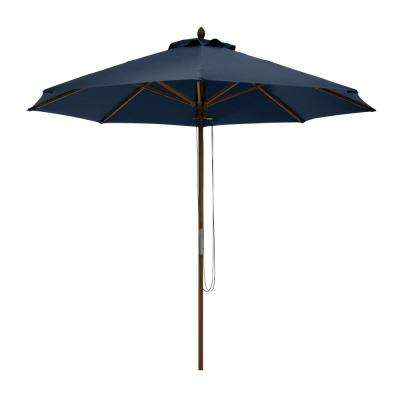 Montlake 9 ft. Bamboo Market Patio Umbrella in Heather Indigo