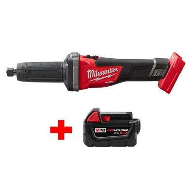 M18 FUEL 18-Volt Lithium-Ion Brushless Cordless 1/4 in. Die Grinder with Free M18 5.0Ah Battery