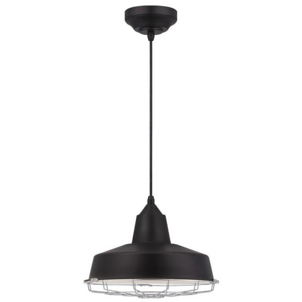 Academy 60-Watt Equivalent Black Integrated LED Pendant with Removable Chrome Cage
