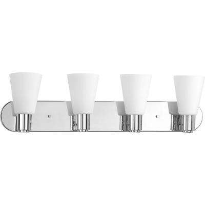 Logic Collection 4-Light Polished Chrome Vanity Light with Etched Glass Shades