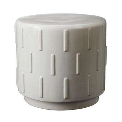 Tread 15 in. White Earthenware Stool