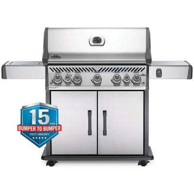 Rogue 5-Burner Propane Gas Grill in Stainless Steel with Infrared Rear and Side Burners