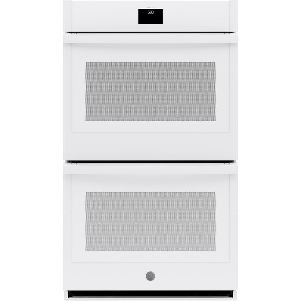 GE 30 in. Smart Double Electric Wall Oven with Convection (Upper Oven) Self-Cleaning in White
