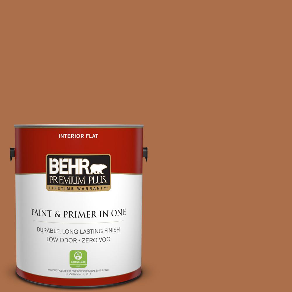 BEHR Premium Plus 1-gal. #260D-7 Copper Mountain Zero VOC Flat Interior Paint