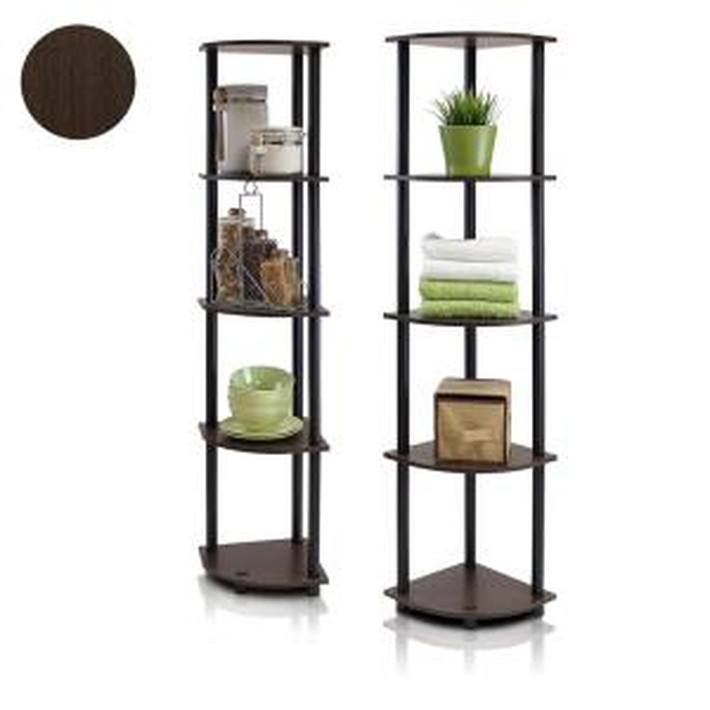 57.7 in. Dark Brown/Black Plastic 5-shelf Corner Bookcase with Open Storage