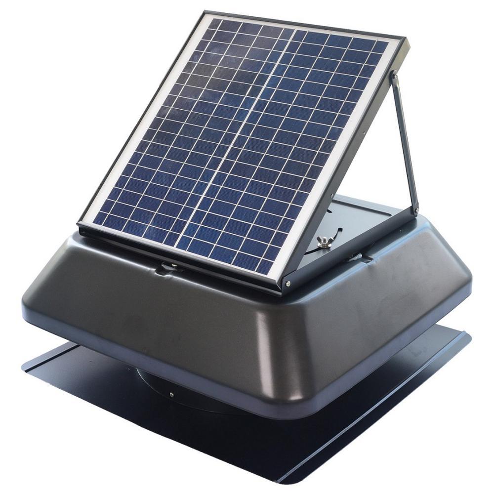 Iliving Smart Solar Attic 14 In Black Square Cools Up