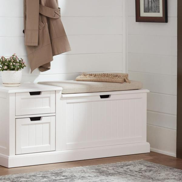 Home Decorators Collection White Wood, White Bathroom Bench With Storage