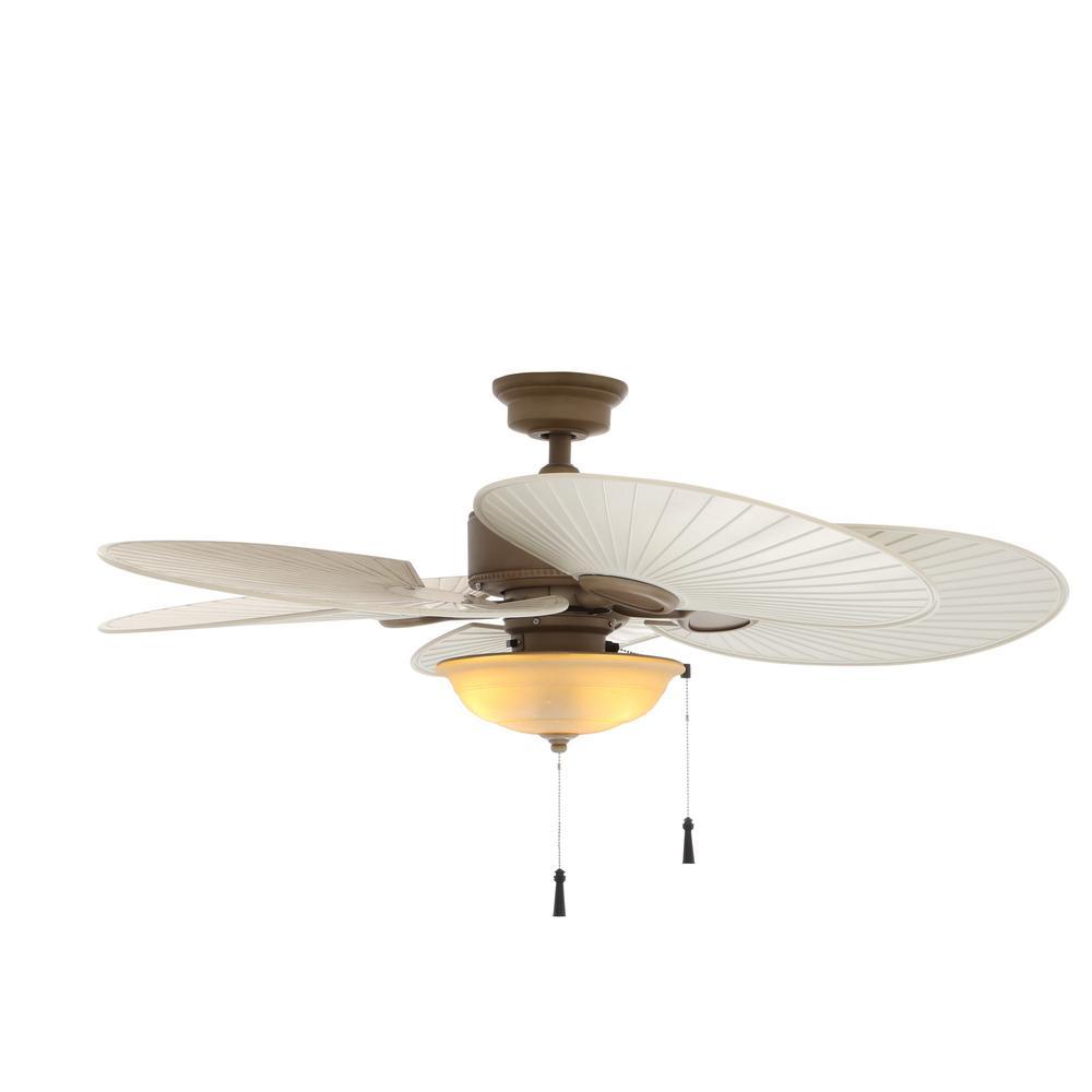 Bronze Havana Abs Blade Tropical Indoor Outdoor Ceiling: Hunter Donegan 44 In. LED Indoor Fresh White Ceiling Fan