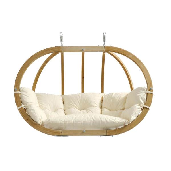 Globo Chair Royal Two Person Laminated Spruce Patio Swing with Agora Natural Cushion