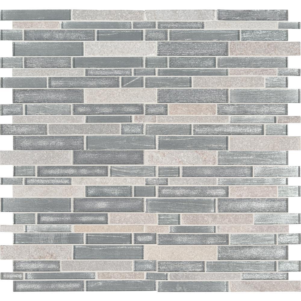 MSI Evita Ice Interlocking 12 in. x 11.75 in. x 8mm Glass Stone Mesh-Mounted Mosaic Tile (9.8 sq. ft. / case)