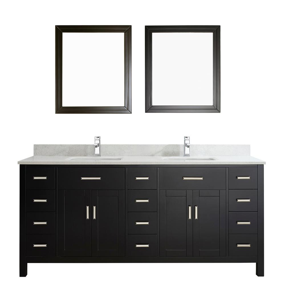 Studio Bathe Kalize II 75 in. W x 22 in. D Vanity in Espresso with Thin Engineered Vanity Top in White with White Basin and Mirror