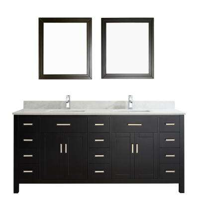 Kalize II 75 in. W x 22 in. D Vanity in Espresso with Thin Engineered Vanity Top in White with White Basin and Mirror
