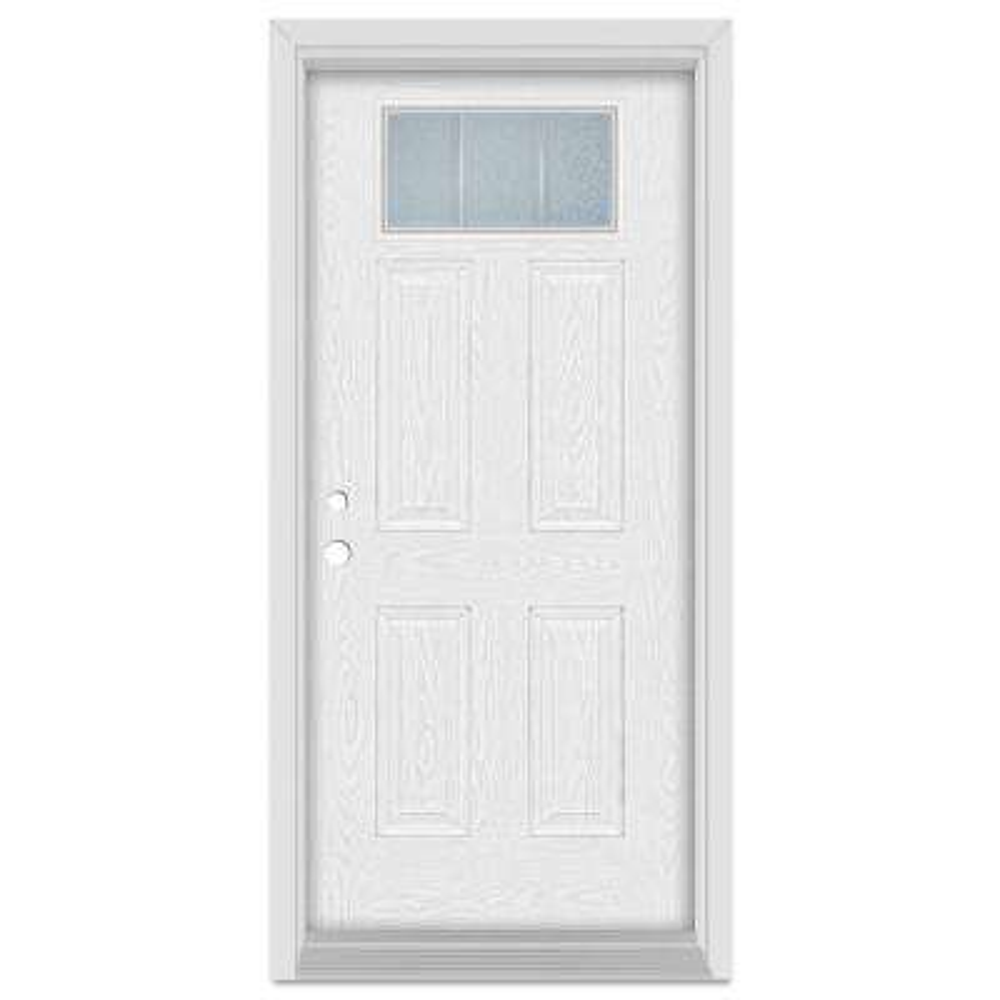 33.375 in. x 83 in. Geometric Right-Hand 1-Lite Zinc Finished Fiberglass Oak Woodgrain Prehung Front Door Brickmould