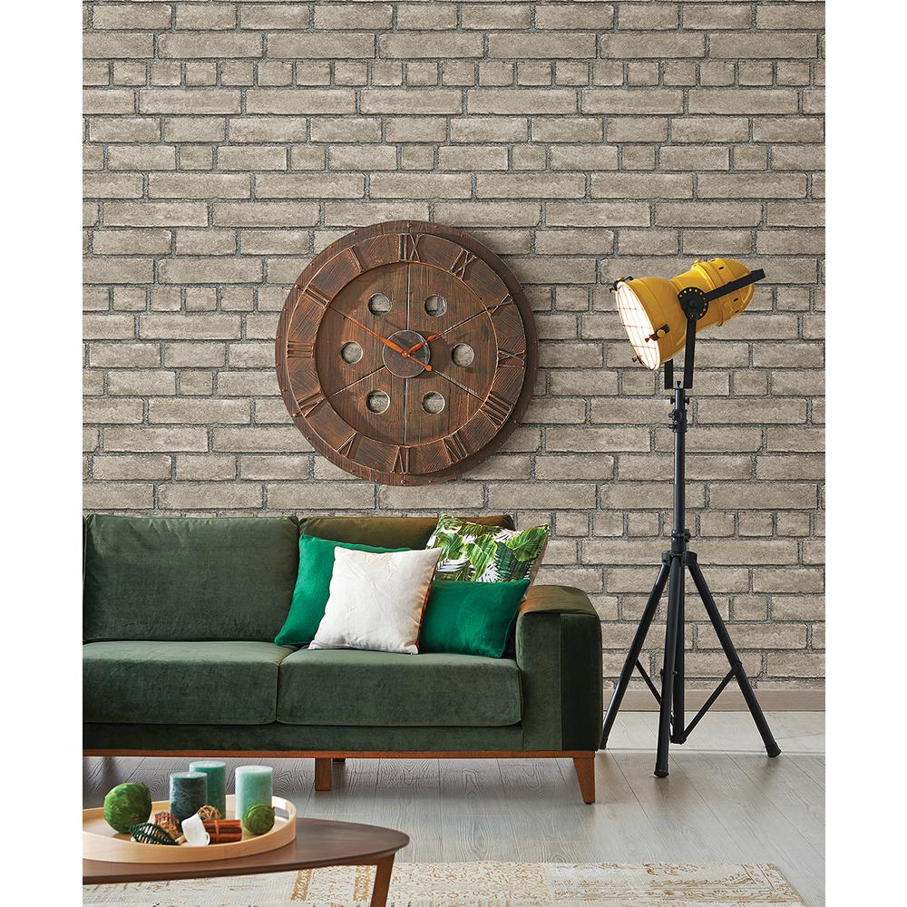 Facade Taupe Brick Wallpaper, Grey