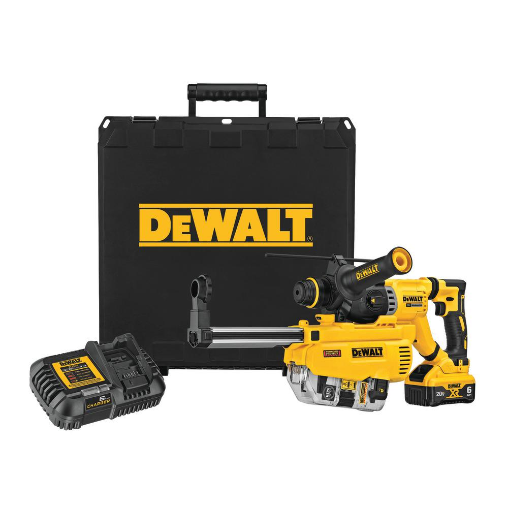 DEWALT 20-Volt Max Lithium-Ion Brushless Cordless 1-1/8 inch SDS Plus D-Handle Rotary Hammer Kit w/ Dust Extraction
