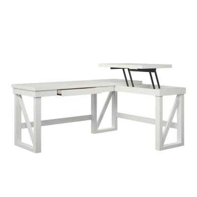 Carlyle White L-Shaped Desk with Lift Top