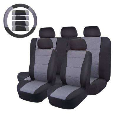 47 in. x 23 in. x 1 in. Cloth Bucket Seat Cover Set Universal fit for Car/Truck/Van/SUV in Gray and Black (14-Piece)